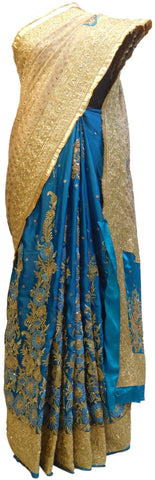 Blue & Cream Designer Silk Hand Embroidery Zari Bullion Thread Cutdana Beads Stone Work Bridal Wedding Saree Sari