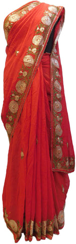 Red Designer Georgette (Viscos) Hand Embroidery Thread Sequence Zari Cutdana Pearl Work Wedding Bridal Saree Sari
