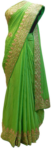 Green Designer Georgette (Viscos) Hand Embroidery Sequence Zari Cutdana Work Wedding Bridal Saree Sari