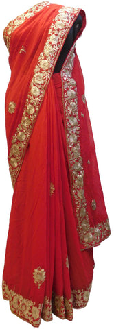 Red Designer Georgette (Viscos) Hand Embroidery Sequence Zari Cutdana Work Wedding Bridal Saree Sari