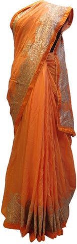 Orange Designer Crepe (Chinon) Hand Embroidery Zari Work Wedding Bridal Saree Sari