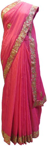 Pink Designer Crepe (Chinon) Hand Embroidery Sequence Zari Cutdana Work Wedding Bridal Saree Sari