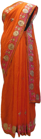 Orange Designer Georgette (Viscos) Hand Embroidery Thread Sequence Zari Cutdana Pearl Work Wedding Bridal Saree Sari