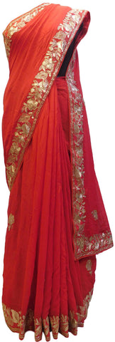 Red Designer Crepe (Chinon) Hand Embroidery Zari Cutdana Work Wedding Bridal Saree Sari