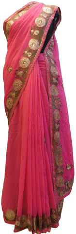 Pink Designer Georgette (Viscos) Hand Embroidery Thread Sequence Zari Cutdana Pearl Work Wedding Bridal Saree Sari