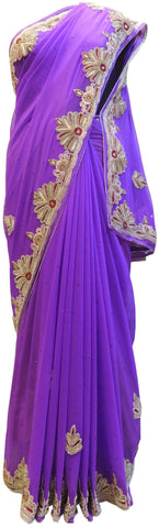 Lavender Designer Georgette Hand Embroidery Stone Beads Thread Bullion Work Wedding Bridal Saree Sari