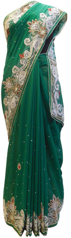 Green Designer Georgette Hand Embroidery Stone Beads Cutdana Work Wedding Bridal Saree Sari