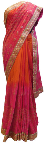Pink & Orange Designer Georgette (Viscos) Hand Embroidery Thread Stone Sequence Zari Bullion Work Wedding Bridal Saree Sari