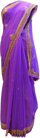 Violet Designer Georgette Hand Embroidery Stone Thread Bead Bullion Zari Cutdana Work Wedding Bridal Saree Sari