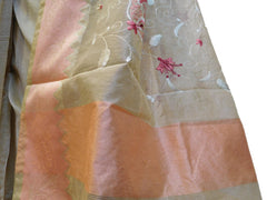 Beige Designer PartyWear Pure Supernet (Cotton) Thread Work Saree Sari With Peach Self Weaved Border