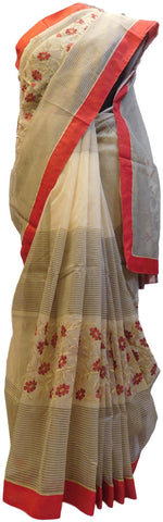Grey & Cream Designer PartyWear Pure Supernet (Cotton) Thread Work Saree Sari With Red Taping
