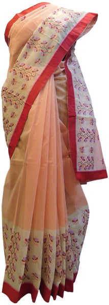 Peach & Cream Designer PartyWear Pure Supernet (Cotton) Thread Work Saree Sari With Red Taping