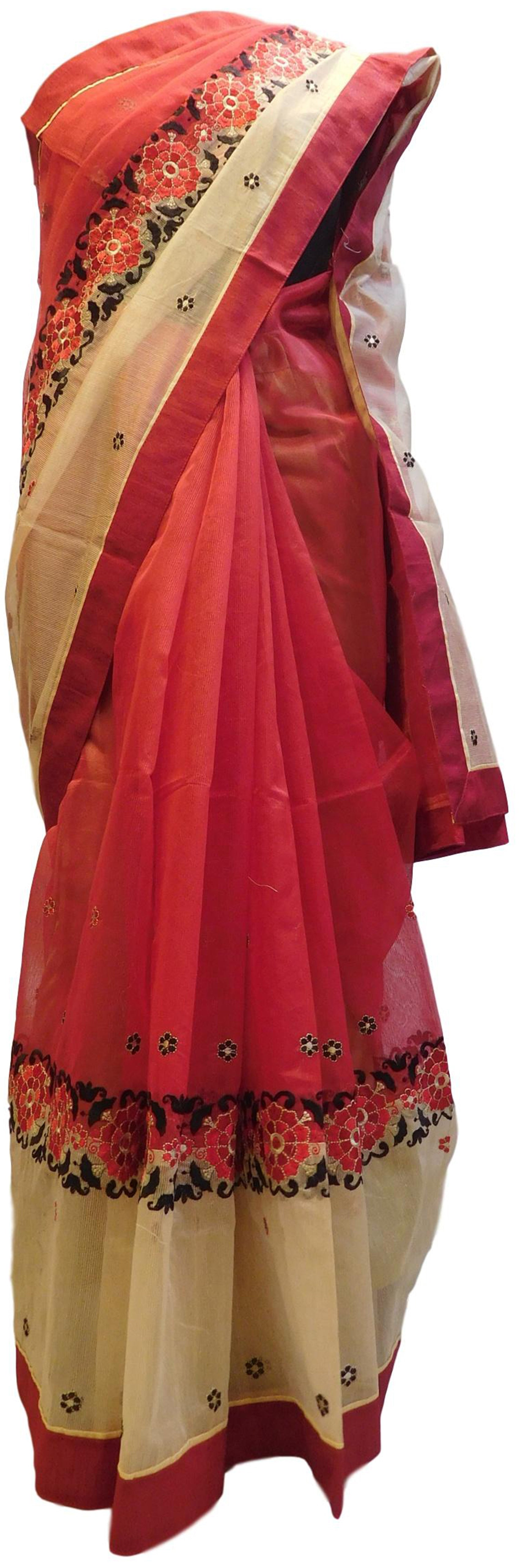 Red & Cream Designer PartyWear Pure Supernet (Cotton) Thread Work Saree Sari With Red Taping