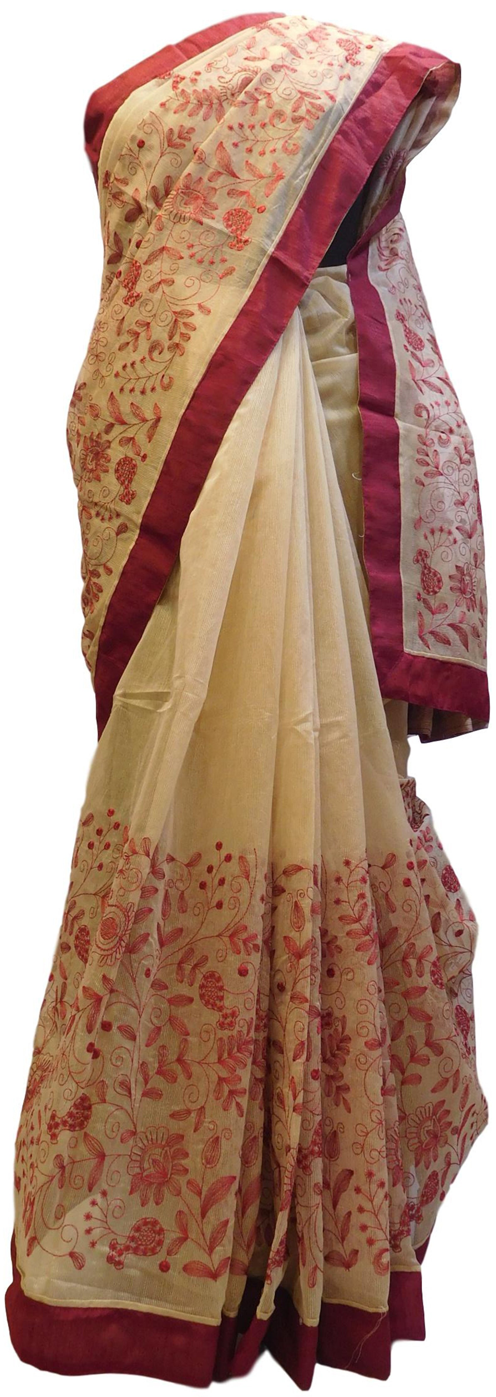 Beige Designer PartyWear Pure Supernet (Cotton) Thread Work Saree Sari With Red Taping