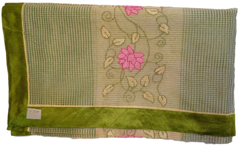 Beige & Green Designer PartyWear Pure Supernet (Cotton) Thread Work Saree Sari With Green Taping