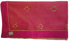 Pink & Beige Designer PartyWear Pure Supernet (Cotton) Thread Work Saree Sari With Pink Taping