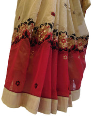 Cream & Red Designer PartyWear Pure Supernet (Cotton) Thread Work Saree Sari With Cream Taping