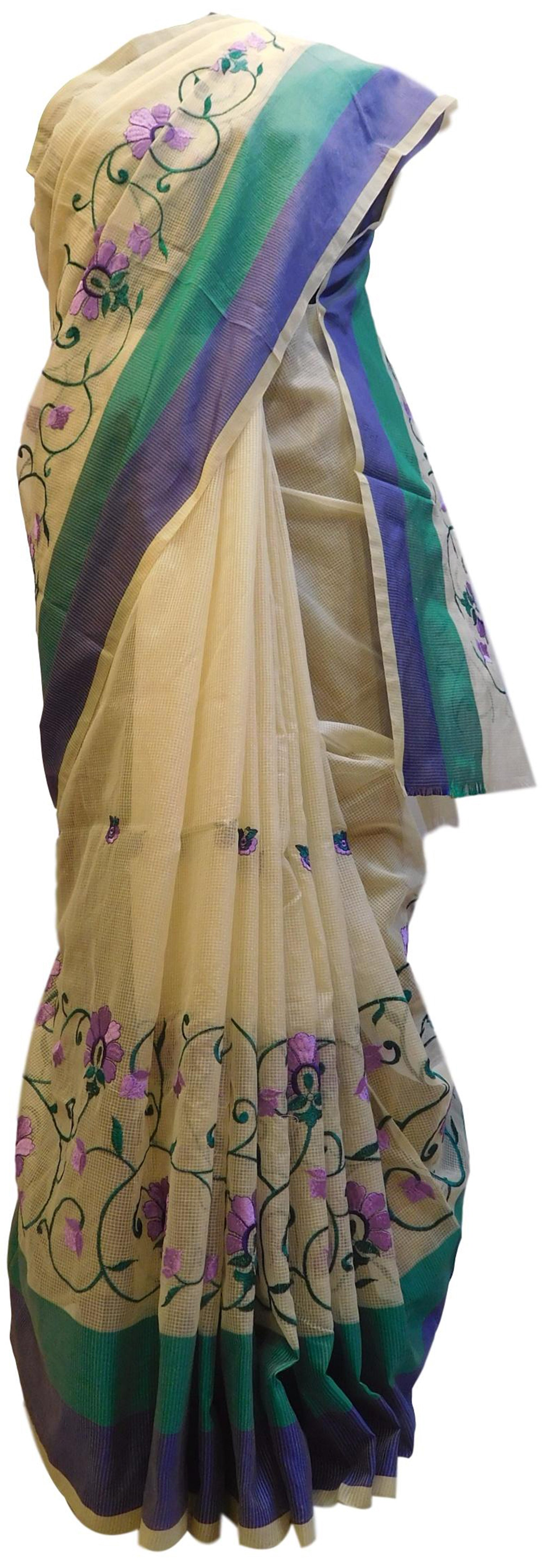 Beige Designer PartyWear Pure Supernet (Cotton) Thread Work Saree Sari