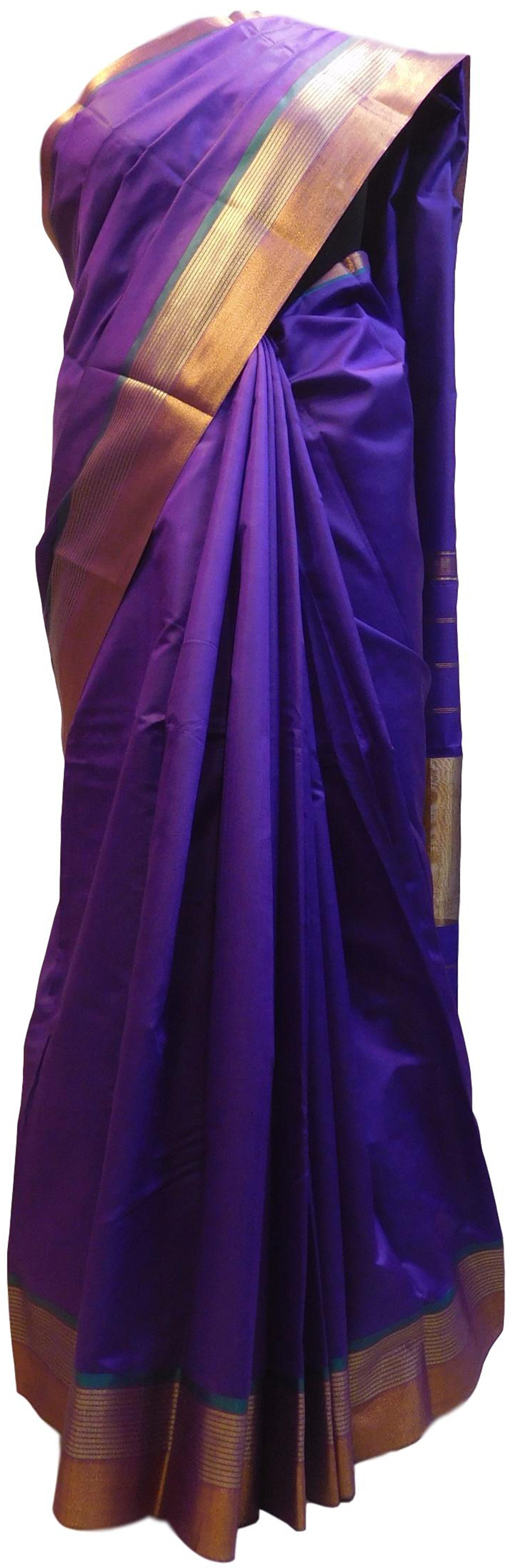 Purple Designer Bridal Hand Weaven Pure Benarasi Zari Work Saree Sari With Blouse