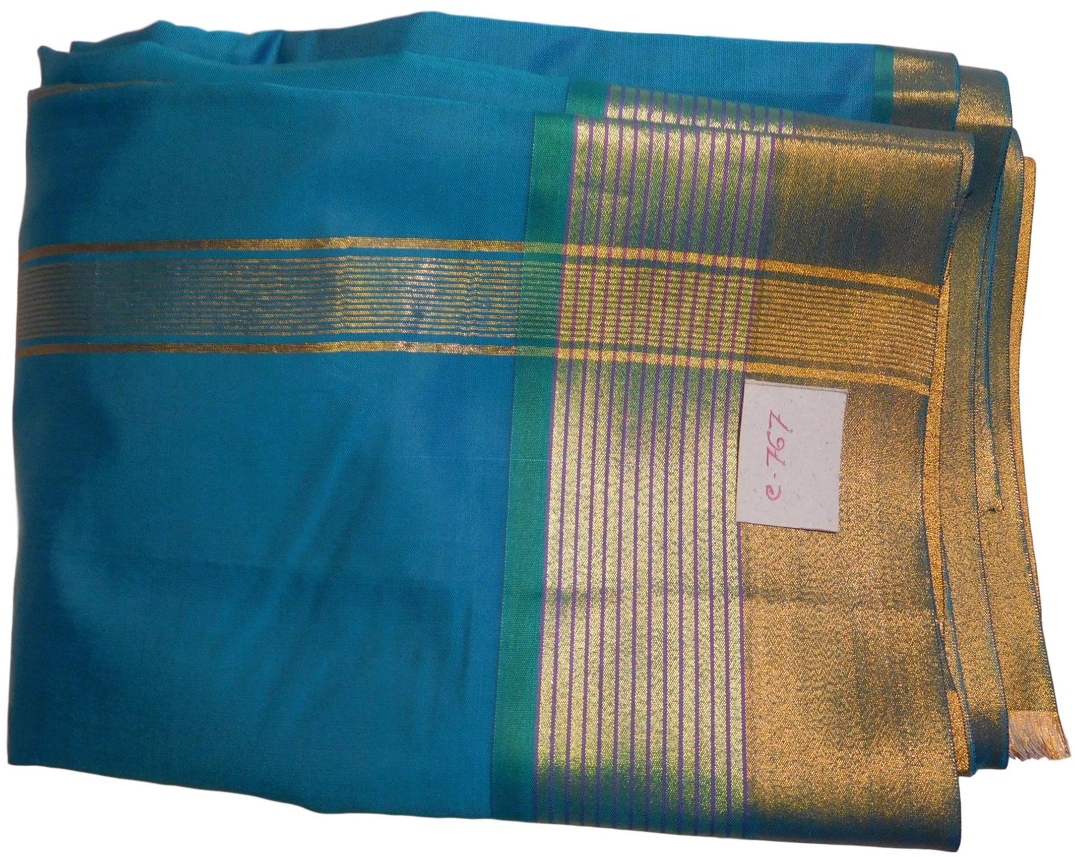 Blue Designer Bridal Hand Weaven Pure Benarasi Zari Work Saree Sari With Blouse