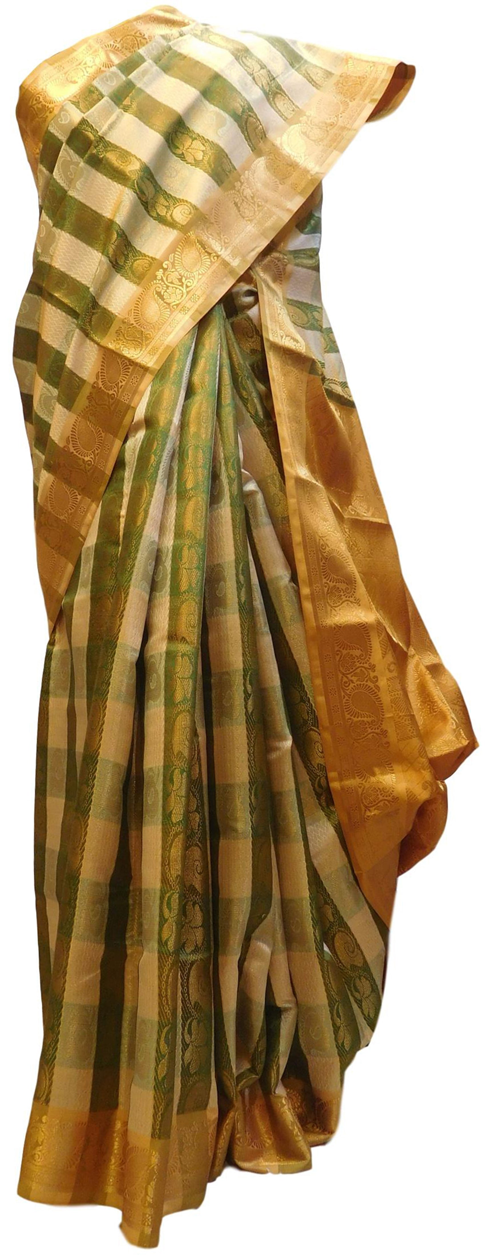 Green & Cream Designer Bridal Hand Weaven Pure Benarasi Zari Work Saree Sari With Blouse
