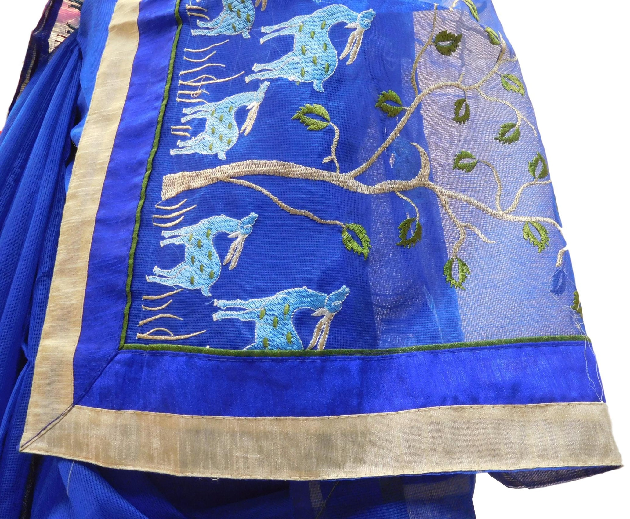 Blue Designer PartyWear Pure Supernet (Cotton) Thread Work Saree Sari