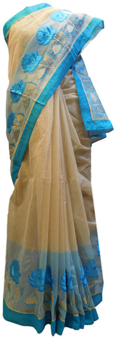 Beige & Blue Designer PartyWear Pure Supernet (Cotton) Thread Work Saree Sari