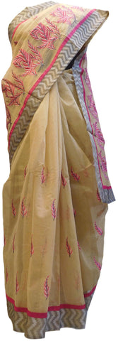 Beige Designer PartyWear Pure Supernet (Cotton) Thread Work Saree Sari With Grey Taping