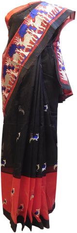 Black & Red Designer PartyWear Pure Supernet (Cotton) Thread Work Saree Sari