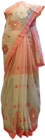 Beige & Peach Designer PartyWear Pure Supernet (Cotton) Thread Work Saree Sari