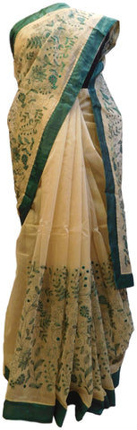 Beige Designer PartyWear Pure Supernet (Cotton) Thread Work Saree Sari With Green Taping