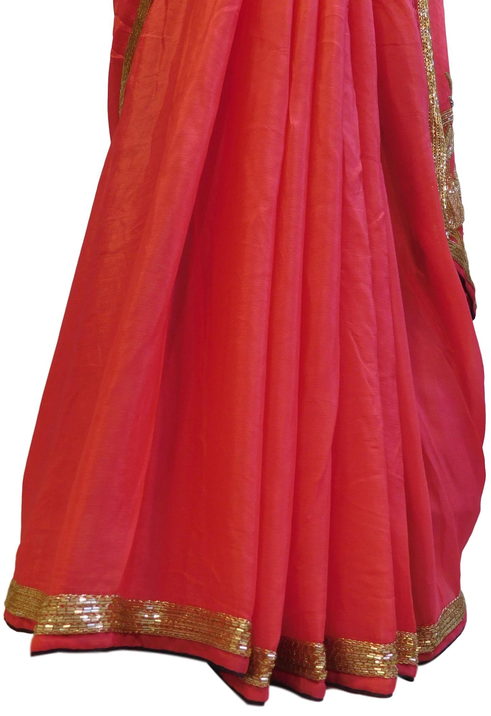 Pink Designer Bridal Crepe (Chinon) Hand Embroidery Zari Cutdana Beads Bullion Work Wedding Saree Sari