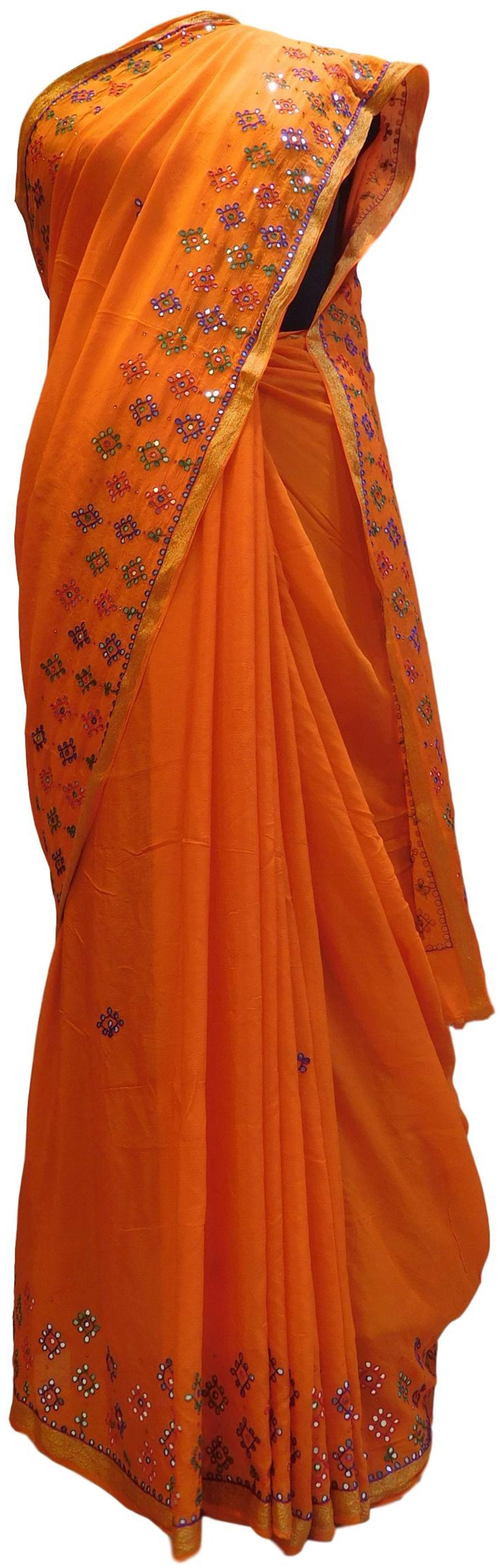 Orange Designer PartyWear Crepe (Chinon) Thread Mirror Work Saree Sari