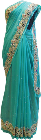 Turquoise Designer Wedding Partywear Georgette Cutdana Thread Stone Hand Embroidery Work Bridal Saree Sari