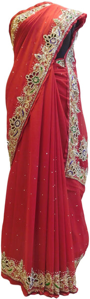Red Designer Wedding Partywear Georgette Cutdana Thread Stone Hand Embroidery Work Bridal Saree Sari