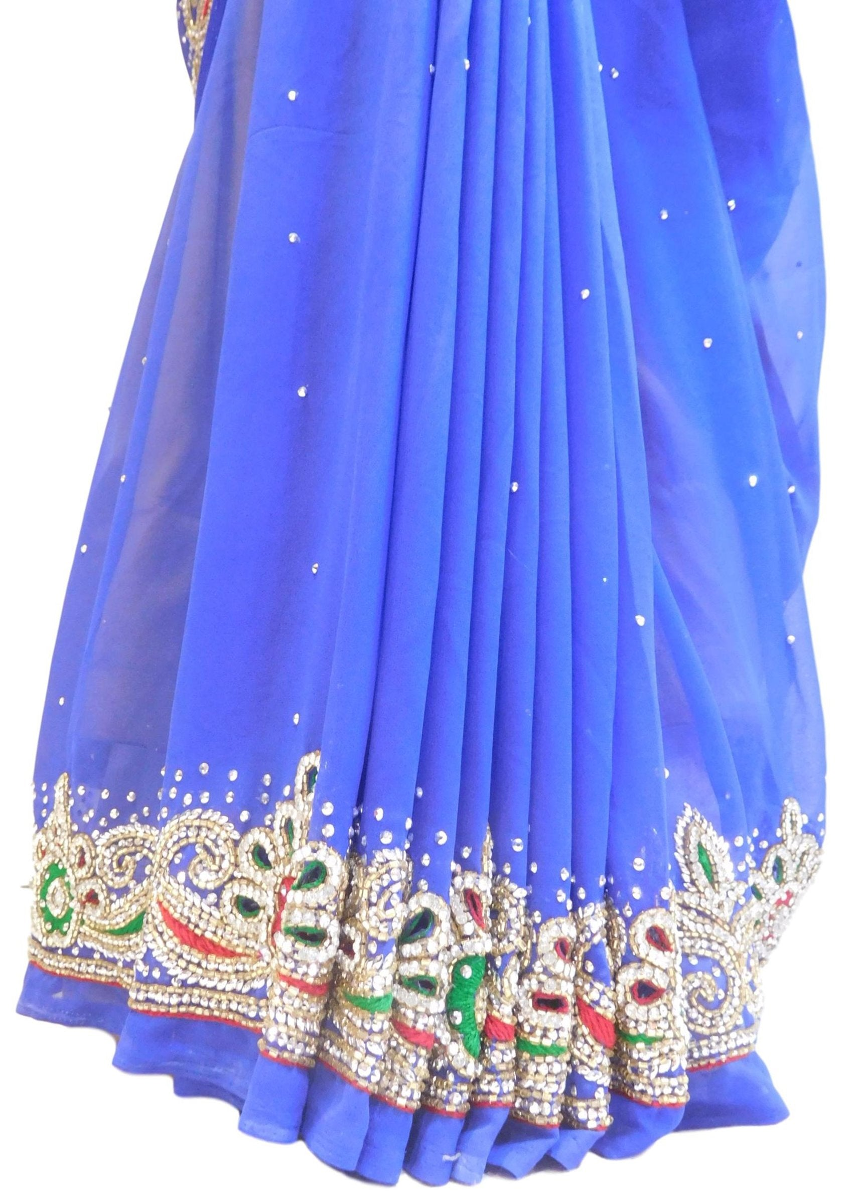 Blue Designer Wedding Partywear Georgette Cutdana Thread Stone Hand Embroidery Work Bridal Saree Sari