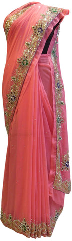 Pink Designer Wedding Partywear Georgette Cutdana Thread Stone Hand Embroidery Work Bridal Saree Sari