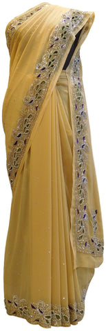 Beige Designer Wedding Partywear Georgette Cutdana Thread Stone Hand Embroidery Work Bridal Saree Sari