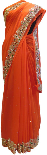 Orange Designer Wedding Partywear Georgette Cutdana Thread Stone Hand Embroidery Work Bridal Saree Sari