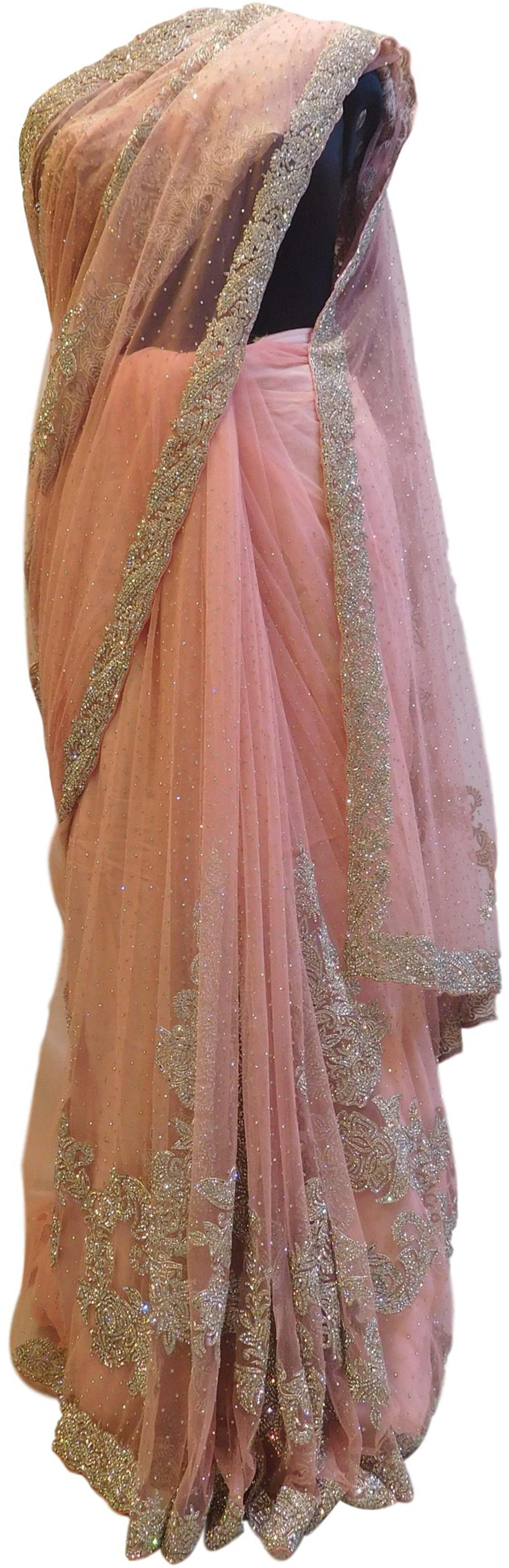 Pink Designer Wedding Partywear Net Bullion Sequence Stone Hand Embroidery CutWork Border Bridal Saree Sari