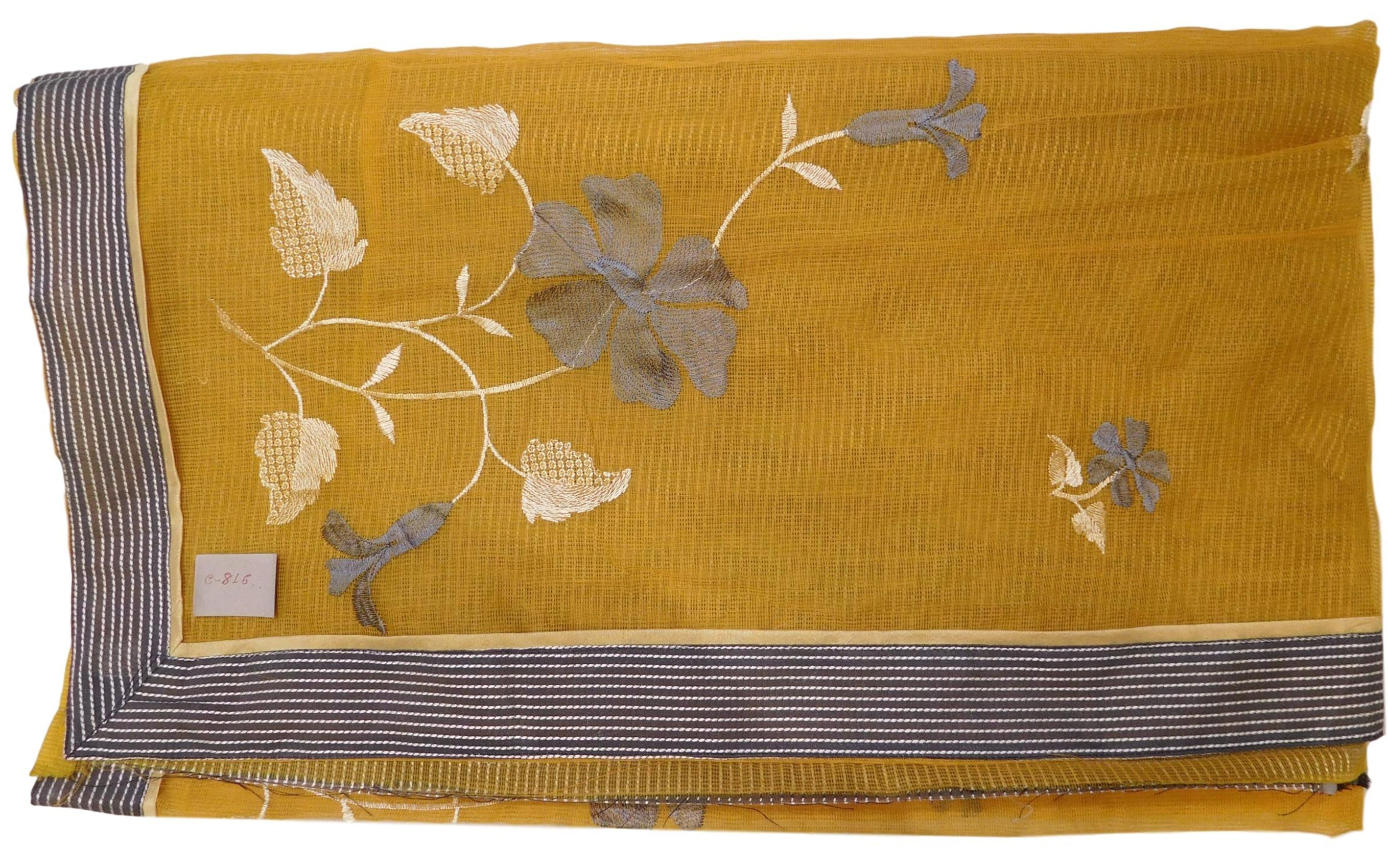 Yellow Designer PartyWear Pure Supernet (Cotton) Thread Work Saree Sari With Grey Border