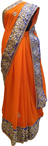 Bollywood Style Orange Georgette (Viscos) Gota Zari Stone Pearl Work Saree With Blue Border & Pearl Lace Sari