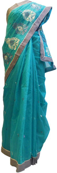 Turquoise Designer PartyWear Pure Supernet (Cotton) Thread Work Saree Sari With Grey Border