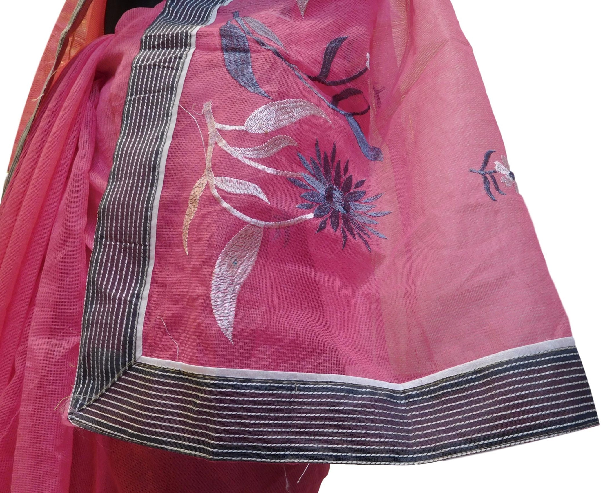 Pink Designer PartyWear Pure Supernet (Cotton) Thread Work Saree Sari With Grey Border