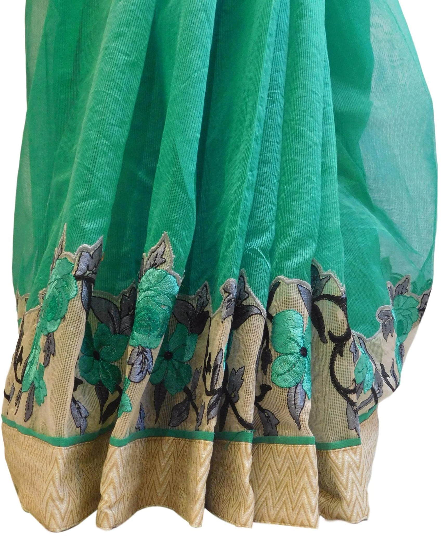 Turquoise Designer PartyWear Pure Supernet (Cotton) Thread Work Saree Sari With Beige Border