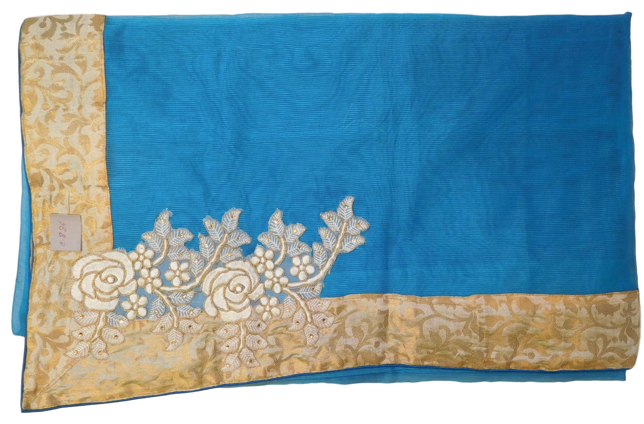 Blue Designer PartyWear Pure Supernet (Cotton) Thread Stone Zari Work Saree Sari With Beige Border