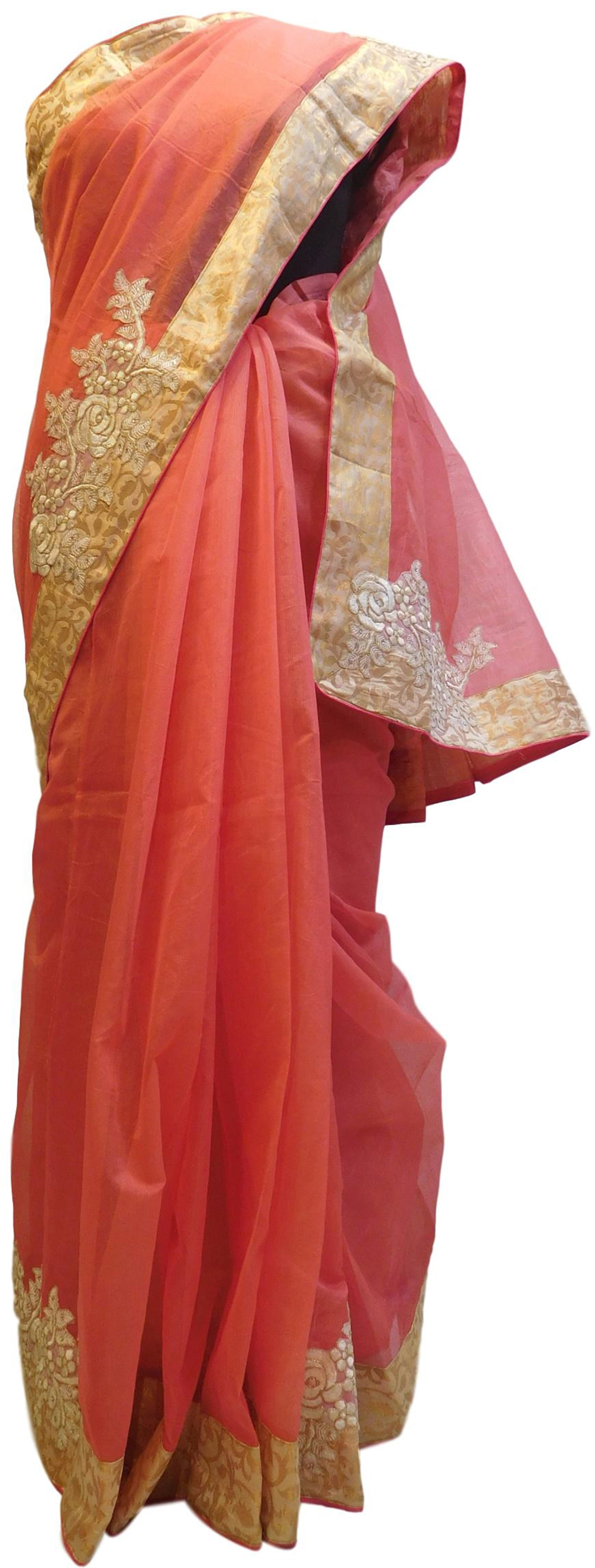 Gajari Designer PartyWear Pure Supernet (Cotton) Thread Zari Stone Work Saree Sari With Beige Border