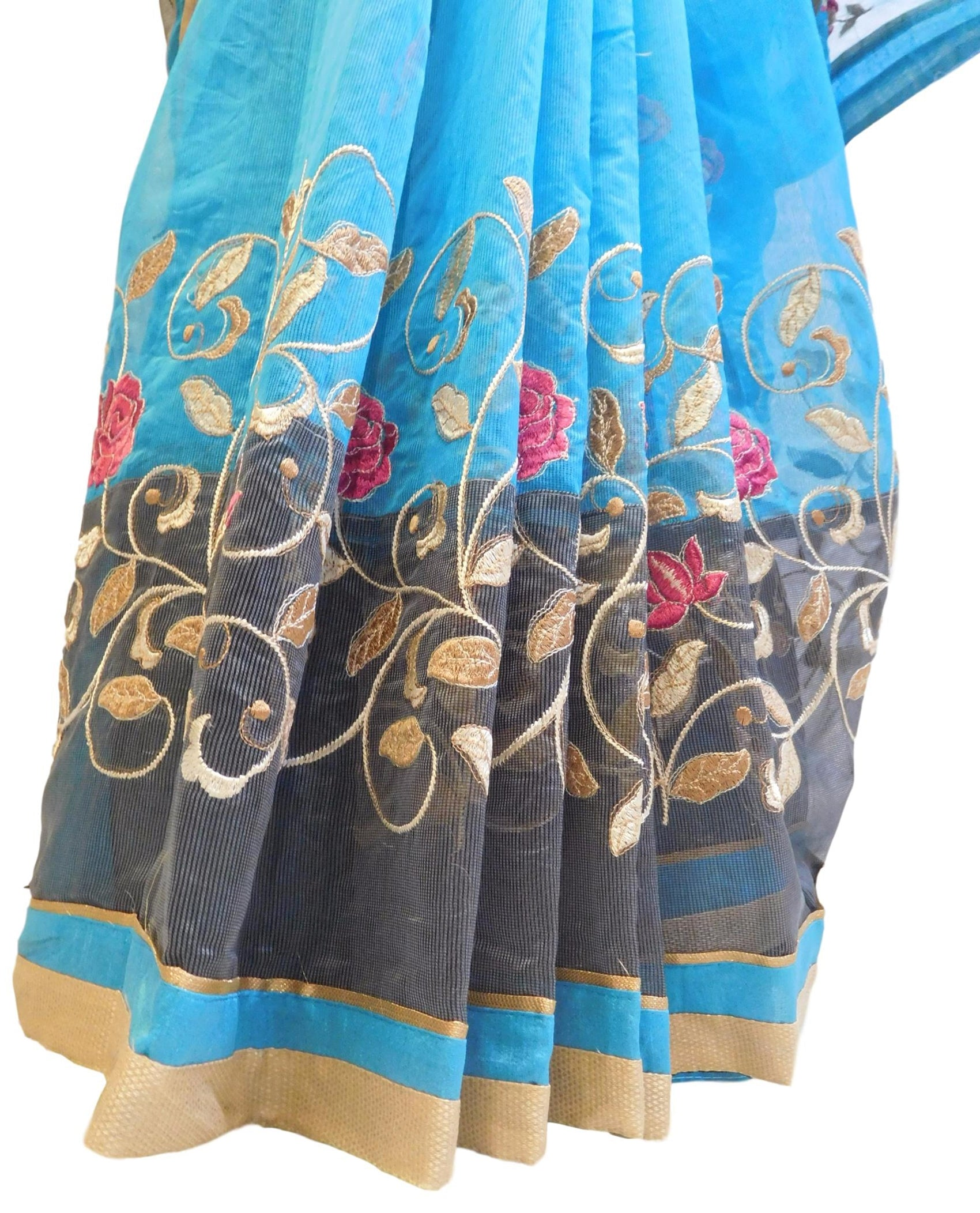 Blue & Grey Designer PartyWear Pure Supernet (Cotton) Thread Work Saree Sari With Blue & Beige Border