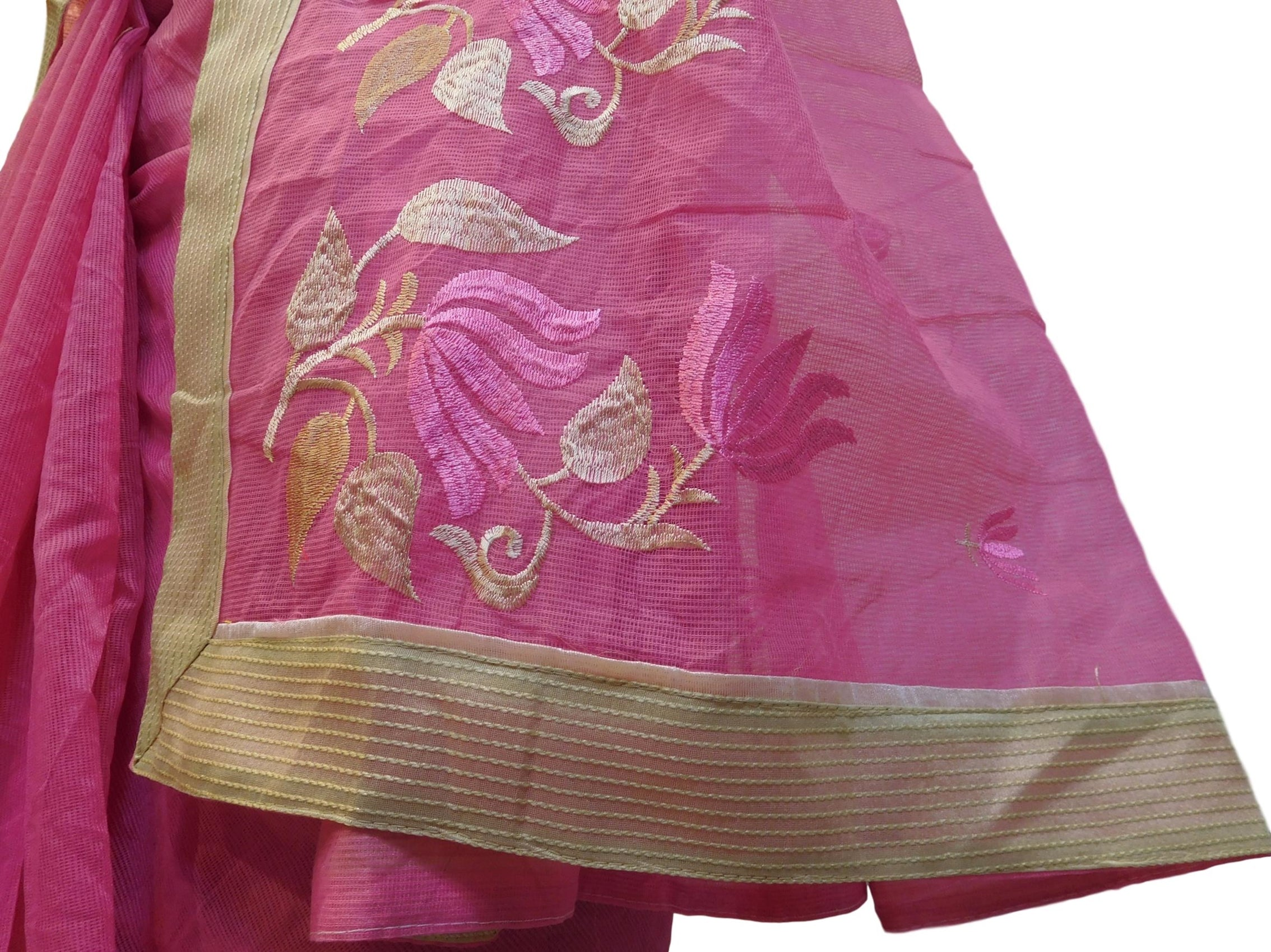 Pink Designer PartyWear Pure Supernet (Cotton) Thread Work Saree Sari With Beige Border