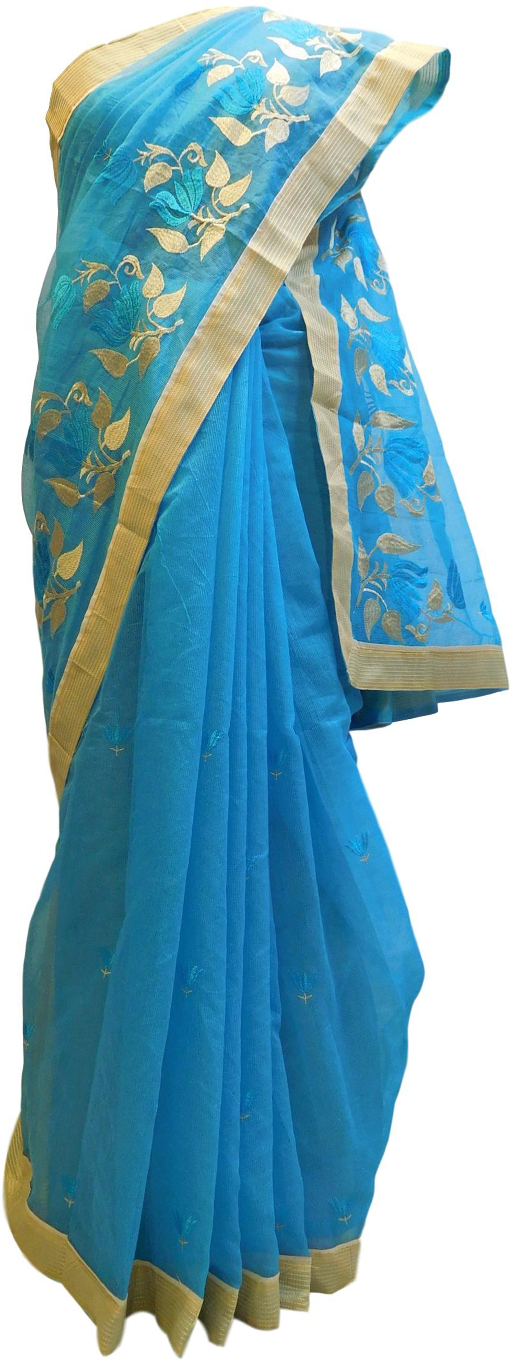 Blue Designer PartyWear Pure Supernet (Cotton) Thread Work Saree Sari With Beige Border